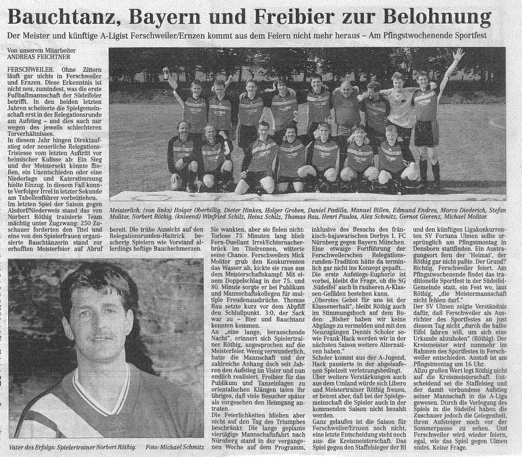 1999: Aufstieg in die A-Klasse und Landratspokalsieger