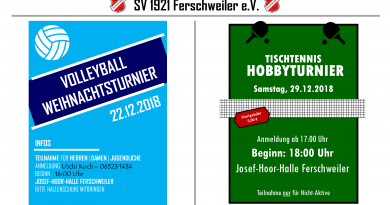 Turniere des SV 1921 Ferschweiler e.V. im Dezember 2018