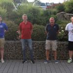 Michael Koch (Betreuer 3. Mannschaft), Norbert Röthig (Sportlicher Leiter der SG), Peter Löw und Thorsten Wagner (Trainerteam 1. Mannschaft)